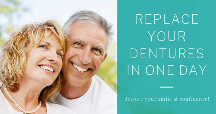 Replace your dentures in one day with Teeth Express, our alternative to dentures.
