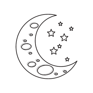 A graphic of a moon and stars